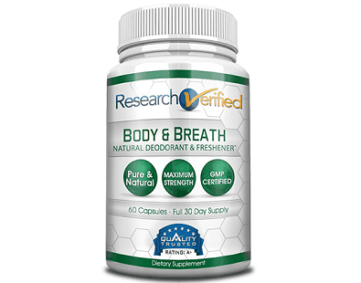 Research Verified Body & Breath Natural Deodorant Freshener Supplement